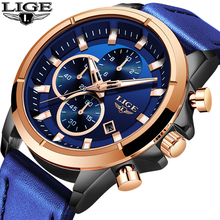 2019 LIGE Men's Fashion Sport Watches Men Quartz Analog Date Clock Man Blue Leather Military Waterproof Watch Relogio Masculino цена и фото
