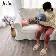 Jielur Pajama Pants Winter Warm Solid Color Soft Ropa Mujer Coral Velvet Lounge Wear Chicly Fleece Letter Print Sleepwear