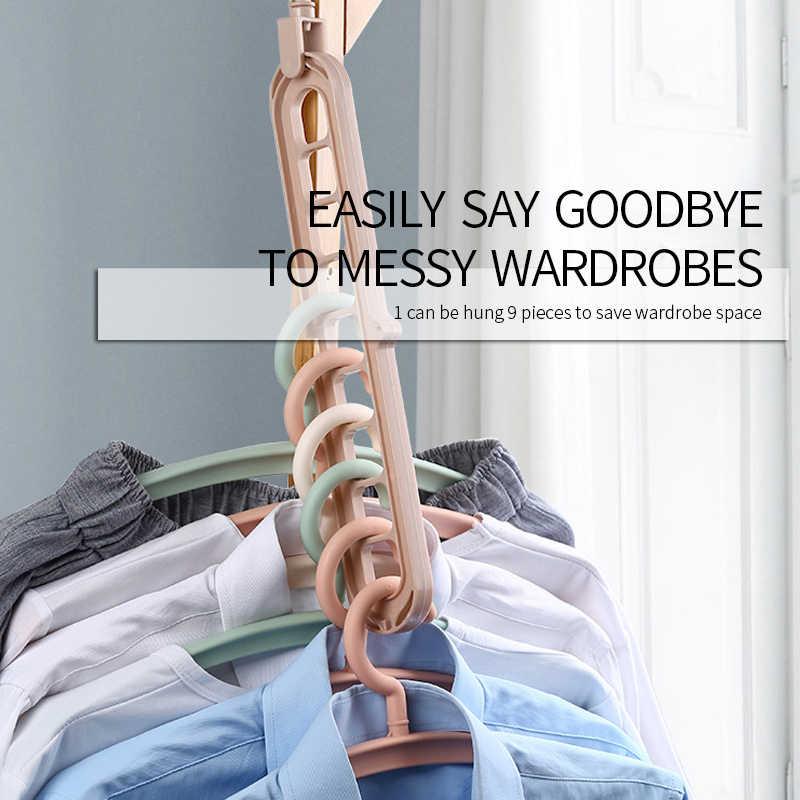 Perchero para ropa abrigos mágico organizador de nueve agujeros giratorios de secado de ropa bufanda soporte de cinturón perchas de almacenamiento para ropa
