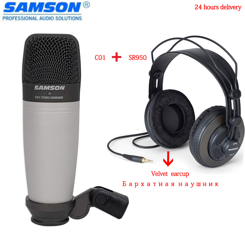 Free Shipping Samson C01 Sr950 Condenser Usb Microphone Professional Monitor Headphones For Recording Vocals & Studio Monitoring