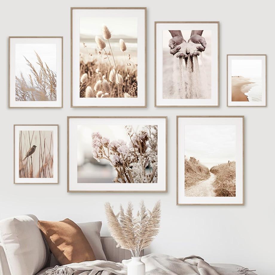 Пляжная Песочная трава тростник птица Highland корова настенная живопись на холсте скандинавские плакаты и принты настенные картины для декор...