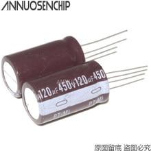 10 pces 450 v 120 uf 450v120uf 450 v 120 uf capacitor eletrolítico de alumínio
