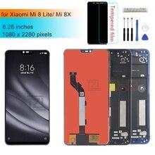 Xiaomi mi 8 lite lcdディスプレイタッチスクリーンデジタイザのためのフレームとmi 8 liteディスプレイの修理部品