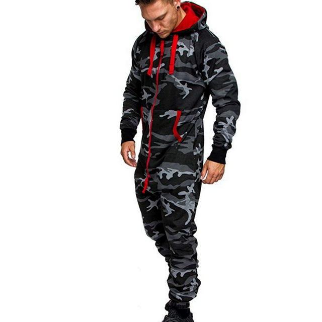 Men One Piece Sets Men's Hooded Fleece Jumpsuit Camouflage Print Personality Casual Suit Men 6
