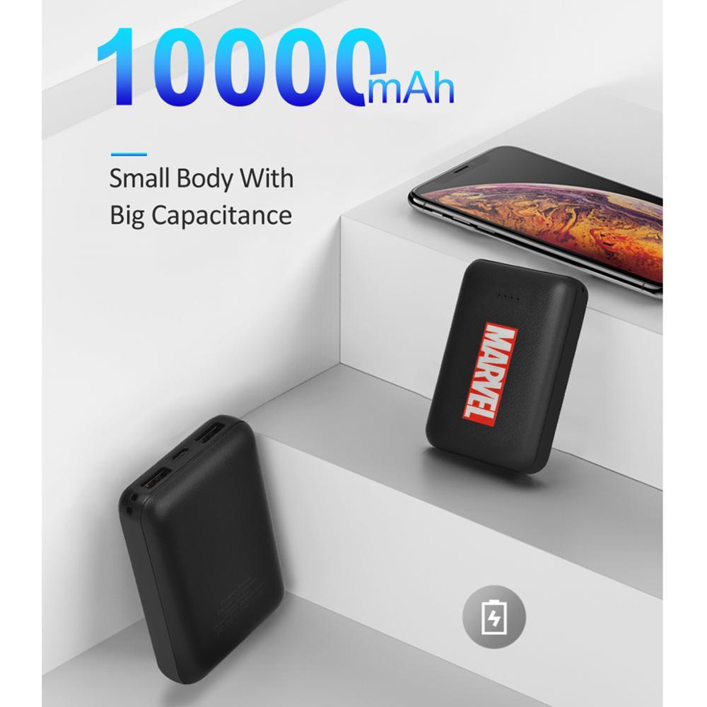 10000mAh Mini Power Bank Mirco USB Intput Quick Charge Marvel Avengers Portable Charger Dual USB Fast Output Powerbank
