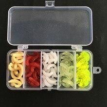 FeelFun 100PCs/set 2cm Maggot Grub Baits Artificial Soft Lure Smell Worms Fishing Lures