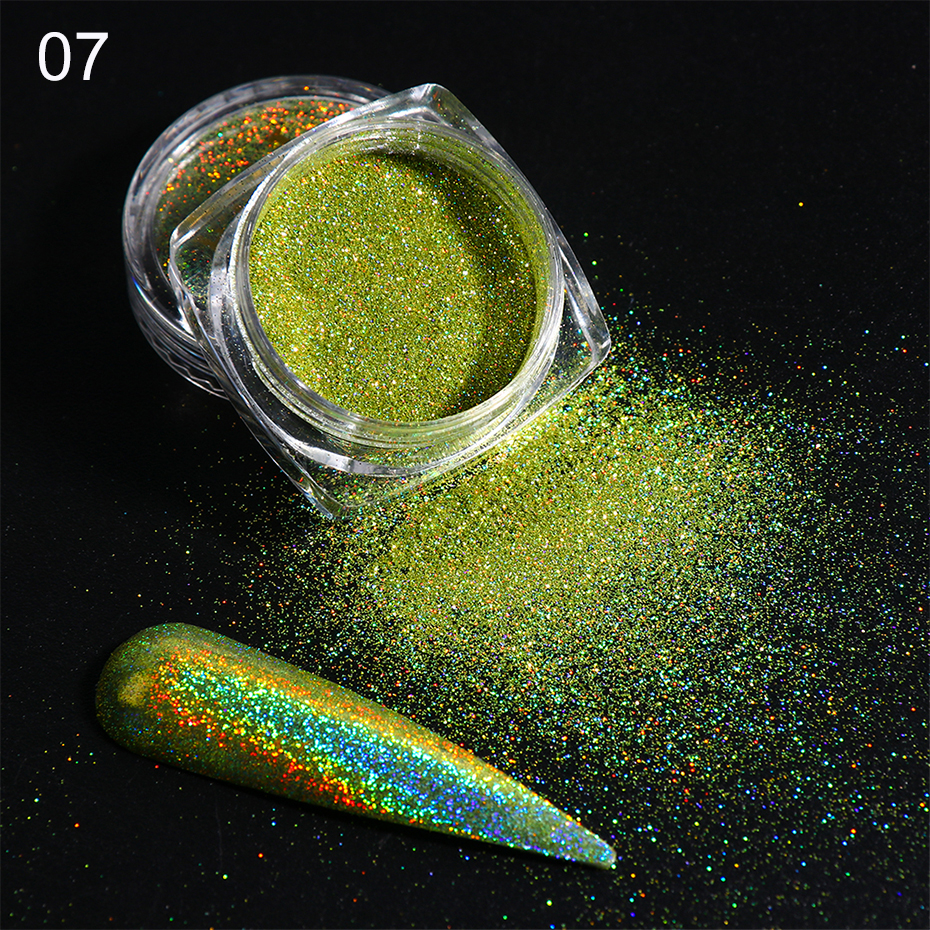 Holographic Nail Glitter Powder Laser Dipping Sequins Pigment Nail Art Gradient Mirror Chrome Dust Shining Polish Flakes BE1028-2 (11)