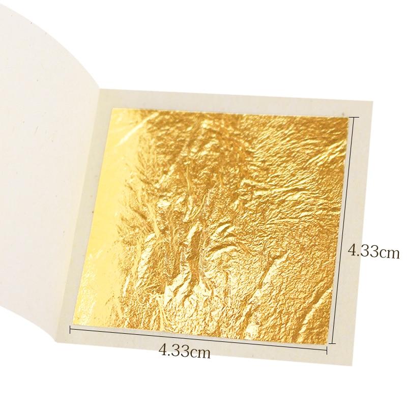 Edible Gold Leaf Sheets Gold Flakes Foil 100pcs 4.33cm Gold In Craft Paper Facial Mask Cake Decoration Real Gold Leaf Gilding