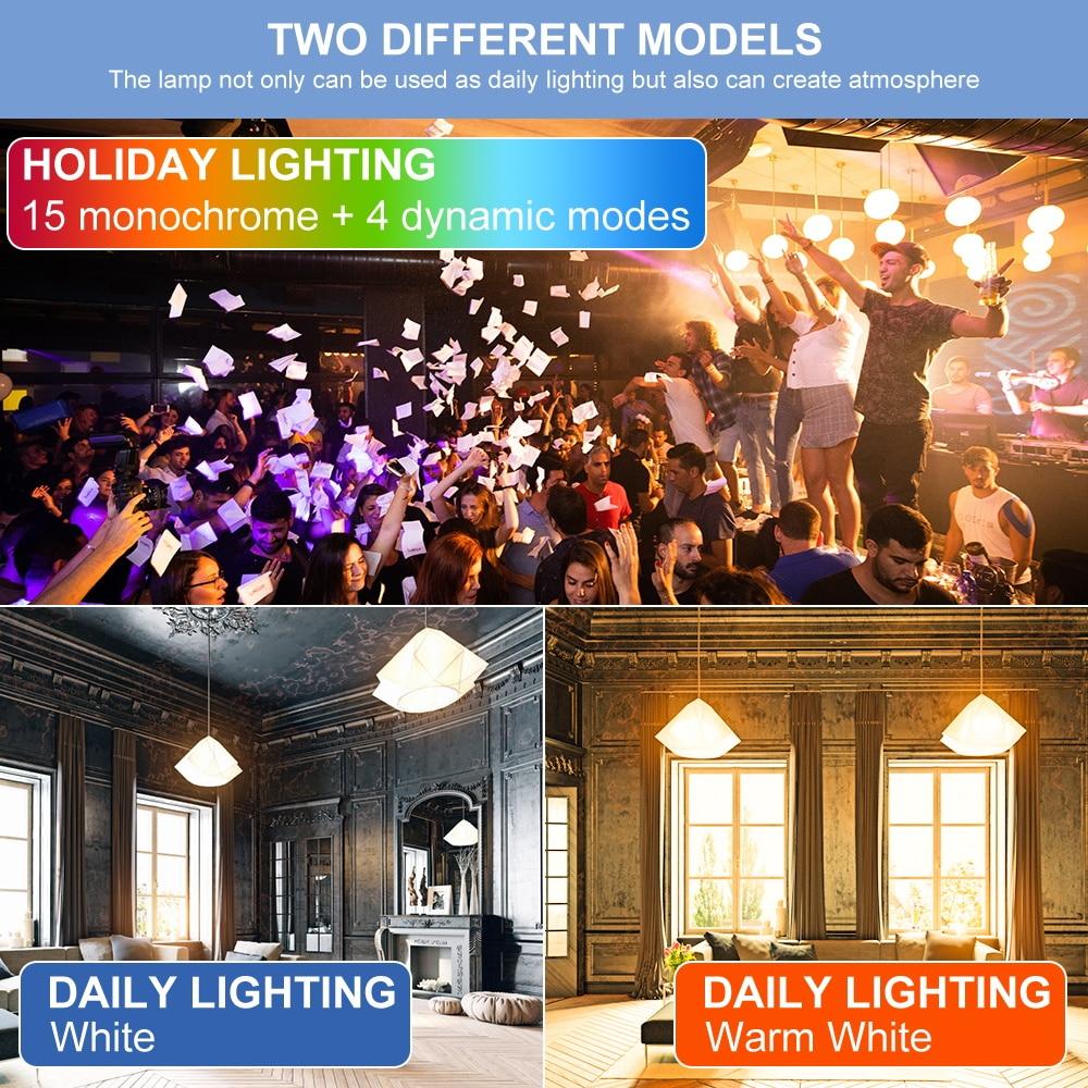 Купить с кэшбэком 15W Smart Light Bulb E27 LED RGB Lamp Colorful RGBW Lampada LED 220V Decoration Home 85-265V RGB+White Dimmable rgbww Magic Bulb