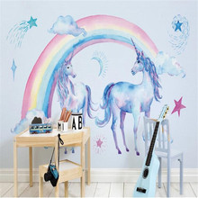 milofi custom 3d japanese cute rainbow unicorn pegasus background wallpaper mural