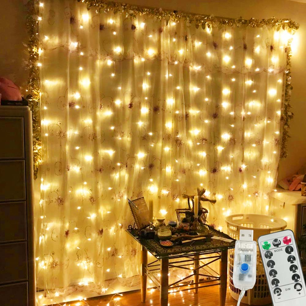 Garland Curtain 3Mx3M Fairy Lights Christmas Lights Indoor 3Mx1M Festoon LED Light Garland LED Christmas Decorations for Home 2