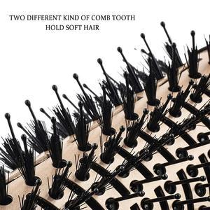 Image 4 - Professionnel une étape sèche cheveux brosse volumizer 2 en 1 lisseur et bigoudi Air chaud fer à friser lisse frisottis rouleaux peigne
