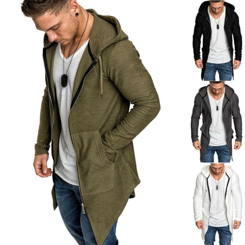 Men's Warm Hooded Coat Outwear Jumper Winter Trench Zipper Long Sleeve Cloak Male Coat Streetwear