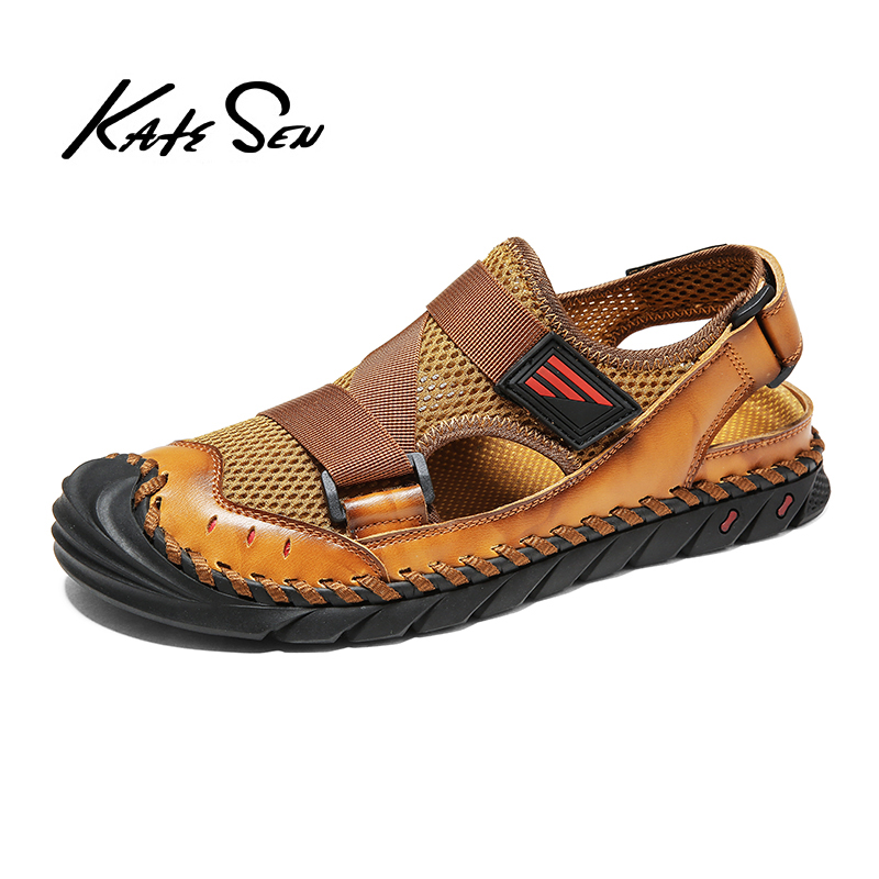 2020 New Summer Flip Flop Men Breathable High Quality Leather Sandals Man Flats Fashion Casual Beach Men's Shoes Plus Size 38-47