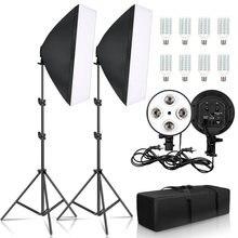 SH Kit de iluminación Softbox fotografía continuo 50x70CM luz suave para foto estudio con 8 Uds E27 hembra bombillas de iluminación