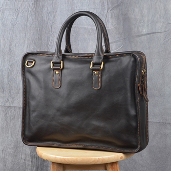 ZRCX Vintage Briefcase Men's Genuine Leather laptop 14 inch bag Casual Man Handbag Coffee Business tote Shoulder office bags black genuine leather women handbag business briefcase bag women s 14 inch laptop bags female cow leather diamond lattice bag