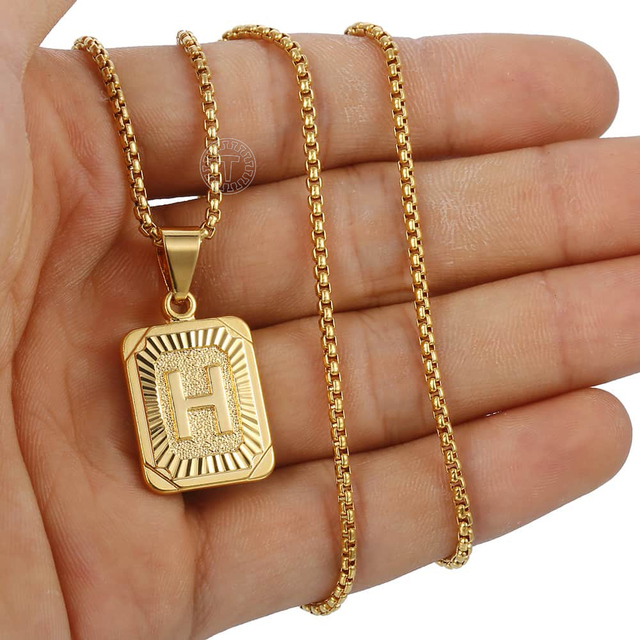 Initials Pendant Letter Name Necklace For Women Men Gold Silver Color Square Alphabet Charm Box Link Chain Couple Pendants GPM05 4