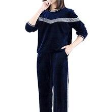Plus large size tracksuit for women 2 piece set velvet outfits co-ord pant suits top winter 2019 sportwear blue clothes