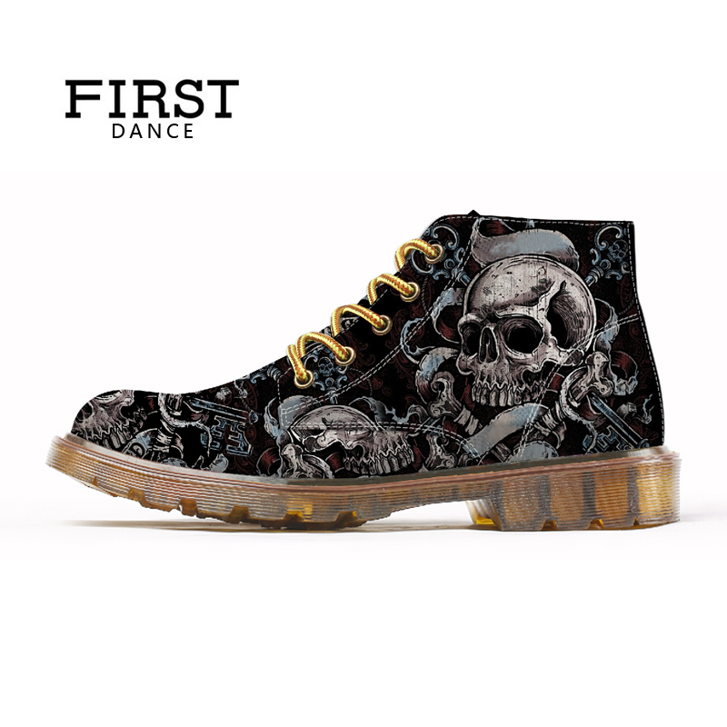 FIRST DANCE Fashion Mens Skull Shoes For Men Martins Shoes Skeleton Print Black Nice Ankle Shoes