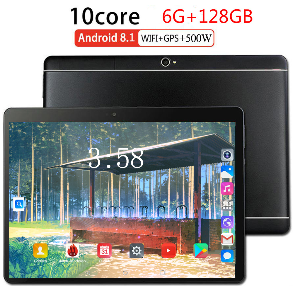 10 Inch MTK6753 Android 8.0 The Tablet 8 Core 128GB ROM 4G LTE 1280 800 IPS 5.0MP SIM Card Ips Tablet Glass WiFi GPS Bluetooth