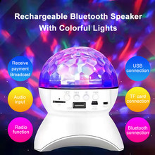 Sem fio bluetooth alto-falante luz do palco led luzes bola de discoteca usb recarregável música projetor luzes da noite para ktv festa casamento