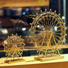 Northern European-Style Gold-Tone Iron Art Ferris Wheel Decoration Creative Home Living Room Decorations Birthday Gift Metal(China)