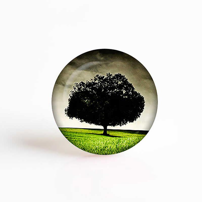 5 unids/lote Klimt Árbol de la vida Fabricación de colgantes 25mm vidrio redondo gema con corte cabujón accesorios de joyería