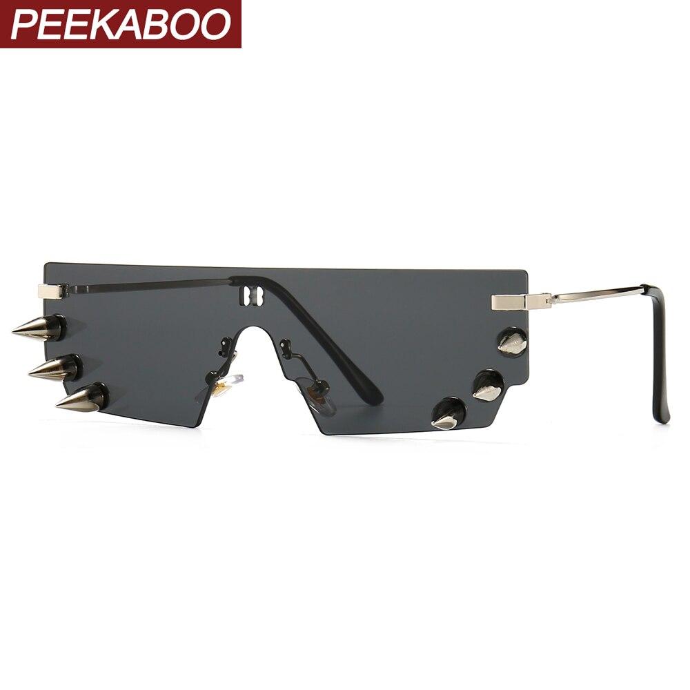 Peekaboo männlichen retro sonnenbrille punk nieten dekoration 2020 einem stück randlose sonnenbrille für frauen männer vintage uv400