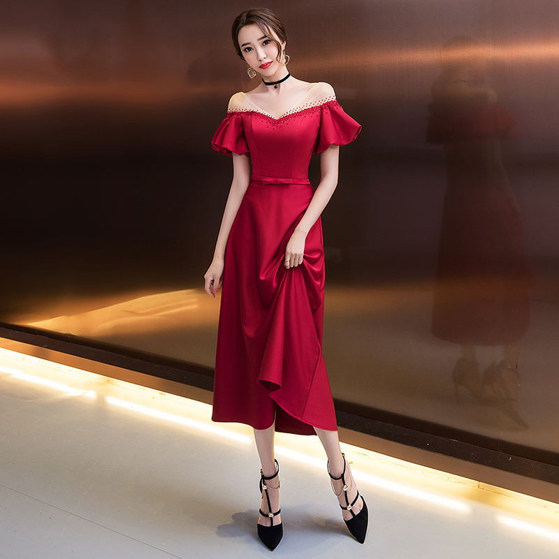 Burgundy Crystal Evening Dresses R220 Puff Sleeve V-Neck Women Party Dress Ankle-Length Formal Vestidos A-Line Elegant Gowns