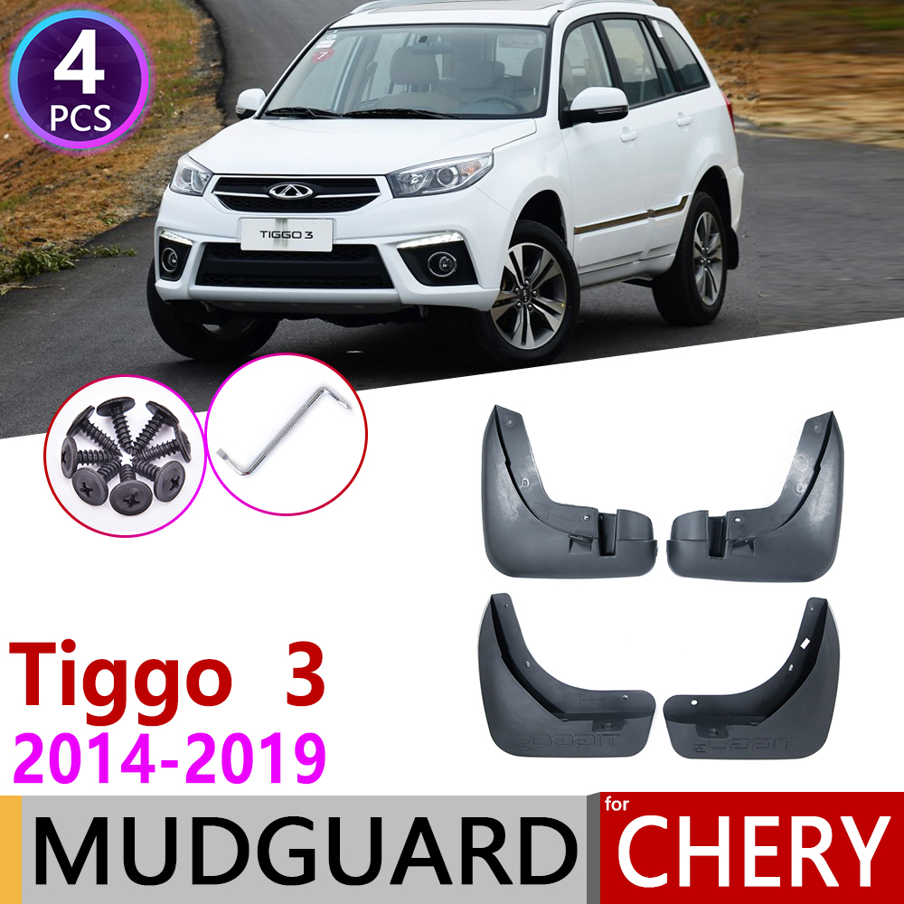4PCS Car Mudguards for Chery Tiggo3 Tiggo 3 2014~2019 Mudflap Fender Mud Flaps Guard Splash Flap Accessories 2015 2016 2017 2018(China)