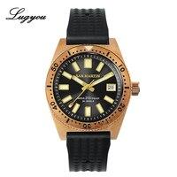 Lugyou san martin 62mas mergulhador mecânico automático nh35 relógio masculino bronze cusn8 girar moldura sunray dial borracha vidro de safira|Relógios esportivos| |  -
