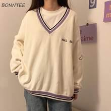 Swetry damskie Ulzzang Letter Chic Vintage dekolt w serek codzienne Oversize Preppy dziewczęce swetry jesień Casual cały mecz Ins sweter damski