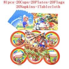 Super mario tema 81 pçs/lote festa de aniversário conjunto de utensílios de mesa fornecimento descartável copo placa guardanapo bandeira toalha decorações suprimentos