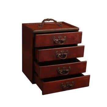 Armario portátil de gran capacidad, joyero de madera, organizador de almacenamiento, hecho a mano, antiguo, multifuncional para mujeres, 4 cajones