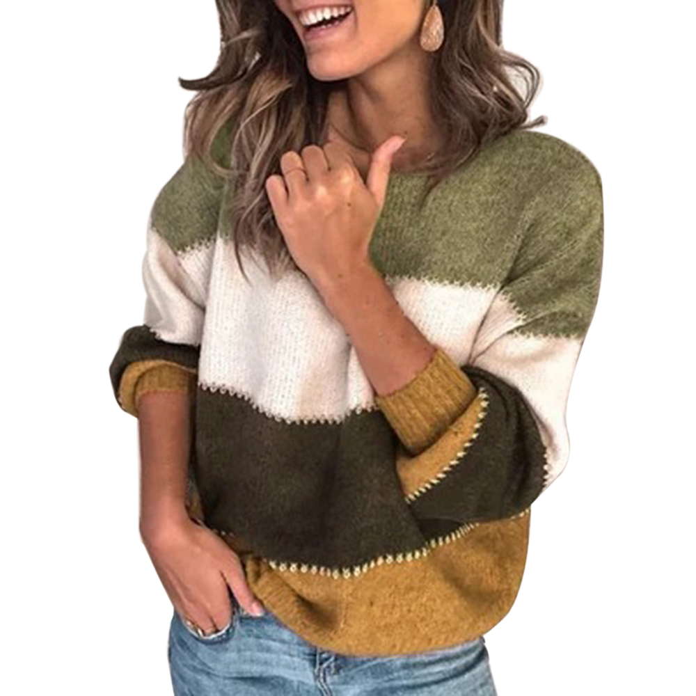 OEAK Fashion Patchwork O-neck Autumn Winter Sweater 2019 Women Long Sleeve Warm Knitted Sweaters Pullover Female Tops Jumper
