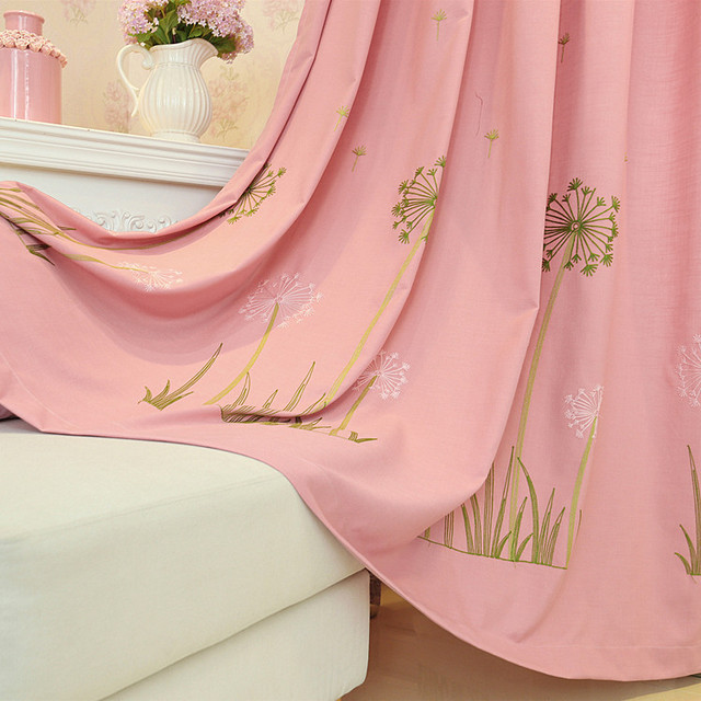 Pink Dandelion Girl Child Baby Curtains for Living Dining Room Bedroom.