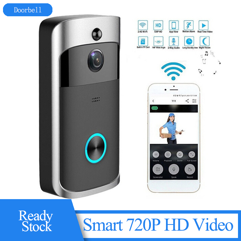 WiFi Doorbell Smart 720P HD Video Real-Time Two-Way Talk Video Doorbell With Night Vision Waterproof Wireless Doorbell
