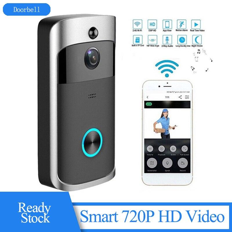 WiFi Doorbell Smart 720P HD Video Real-Time Two-Way Talk Video Doorbell With Night Vision Waterproof Wireless Doorbell