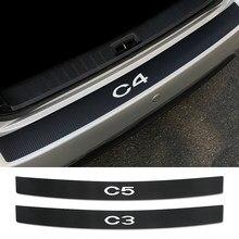 Pegatinas de vinilo para parachoques trasero de coche, calcomanías de decoración Protector de fibra de carbono para Citroen C4 C1 C5 C3 C6 C-ELYSEE VTS