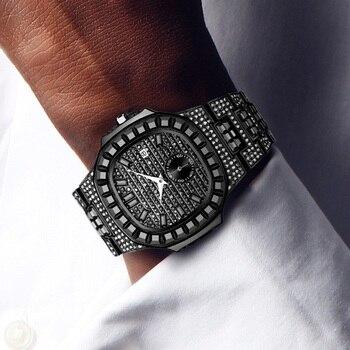 Patek New Luxury Brand Watch Mens Quartz Fashion Wrist Watches Black Diamond Man Baugette Dimaond Wristwatch Male Quartz Clock цена 2017