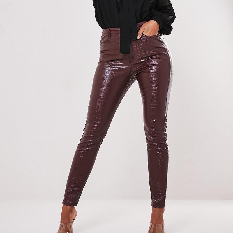 InstaHot Black High Waist Pencil Faux Leather Pants Women Casual Elegant Carving Print Ankle Length Pants Streetwear Trousers 11