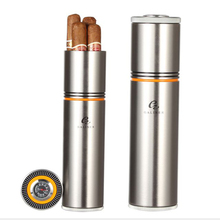 цены COHIBA Cigar Tube Portable Cigar Humidor Case Box Aluminium Alloy Cigar Accessories Travel with Humidor Humidifier Hygrometer