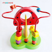 Puzzles Wooden Circles Bead Maze Roller Coaster Boys Girls Montessori Bead Abacus  Wooden Toys Educational Wood puzzles alatoys bb216 play children educational busy board toys for boys girls lace maze toywood