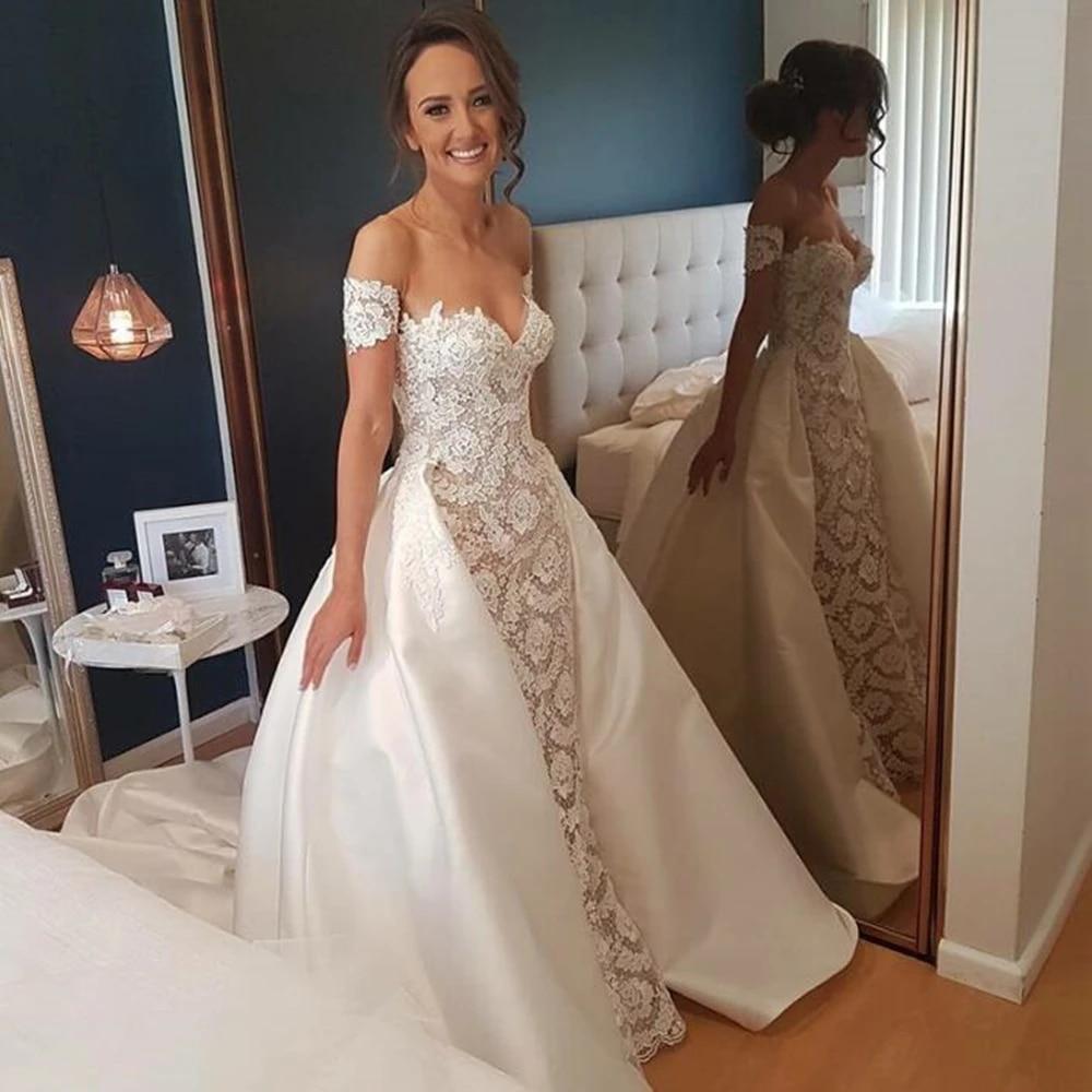 Removable Overskirt 20 Pieces Wedding Dresses Mermaid Short Sleeve Lace  Appliques Satin Detachable Train Bridal Gowns Custom Size