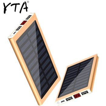 Solar Power Bank External Battery 2 USB LED Powerbank Portable Mobile phone Solar Charger for Xiaomi mi iphone XS 8plus 20000mAH 1