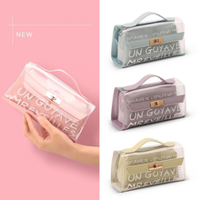 Cute Transparent Pencil Cases for Girls Pink PVC Pen Bag School Supplies Students Stationery Box