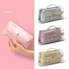 Cute Transparent Pencil Cases for Girls Pink PVC Pen Bag School Supplies Students Stationery Pencil Box недорого