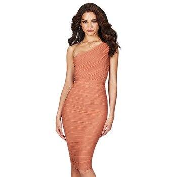 One Shoulder Ruffles Sheath Bodycon Knee Length Bridesmaid Dresses Orange Party Dress