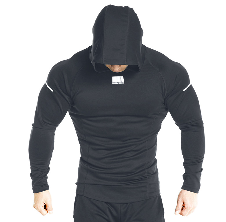 Autumn New Mens Skinny Hoodies Sweatshirts Male Gyms Fitness Bodybuilding Joggers Sportswear Casual Quick Drying Hoodies
