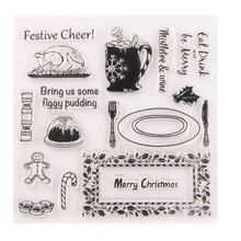 Clear Stamps for DIY Scrapbooking Card Merry Christmas Food Transparent Stamp Making Photo Album Crafts Decoration New Stamp au1212 austria 2012 christmas maria sarkozy altar painting stamp 1 new 1206